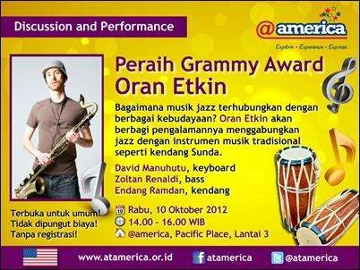 Photo of Saksikan diskusi dan konser Oran Etkin, peraih Grammy Award, di Jakarta